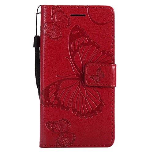 DENDICO Cover Galaxy A3 2017, Pelle Portafoglio Custodia per Samsung Galaxy A3 2017 Custodia a Libro con Funzione di appoggio e Porta Carte di cRossoito - Rosso