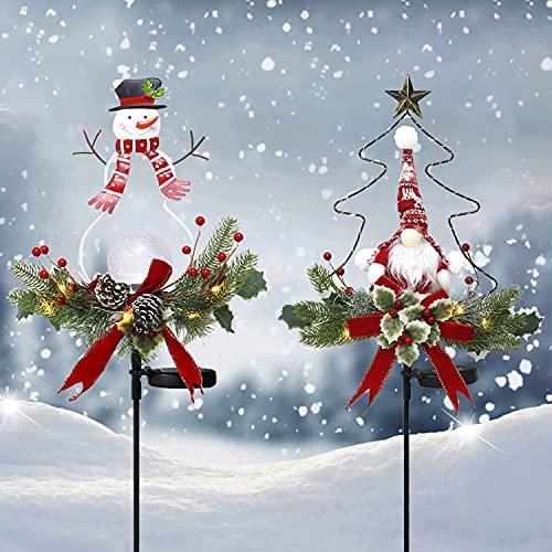 ZUDAIFU Solar Christmas Decorations Outdoor Lights, 2pcs Christmas Yard Decorations Light String, Christmas Led Transparent Snowman LED Lights for Lawn Garden Decor (2PACK)
