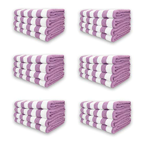 Arkwright Oversized Beach Towels (30x70, 24 Bulk Case Pack), Ringspun Cotton Double Yarn Strength, Perfect Lavender Striped Pool Towel, Beach Towel, Bath Towel
