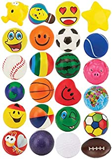 """24 Stress Balls - Bulk Pack of 2.5"""" Stress Balls - Treasure Box Classroom Prizes, Party Favors, Or Just to De-Stress (2 Dozen) Assorted Designs and Colors for Kids, Adults and Teens"""