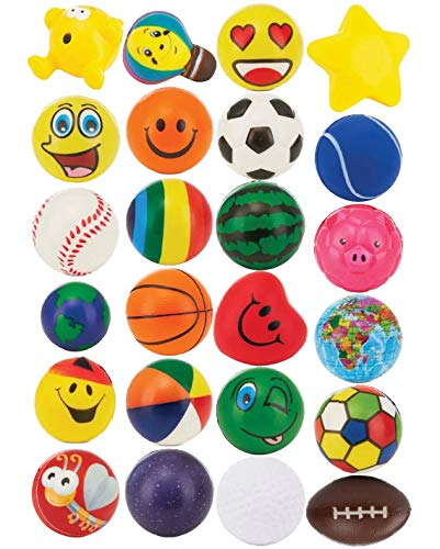 Buy 24 Stress Balls - Bulk Stress Relief Toys Assortment - 2.5 Stress Balls, Smile Face, Globe, Spo...