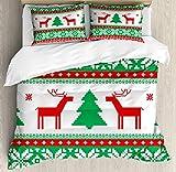 Juego de funda de edredón navideña, diseño de reno con estrellas y copos de nieve, decoración de 3 piezas con 2 almohadas, California King, verde blanco