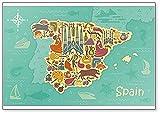 Imán para nevera con diseño de mapa de España con paisajes españoles, símbolos y atracciones, ilustración clásica