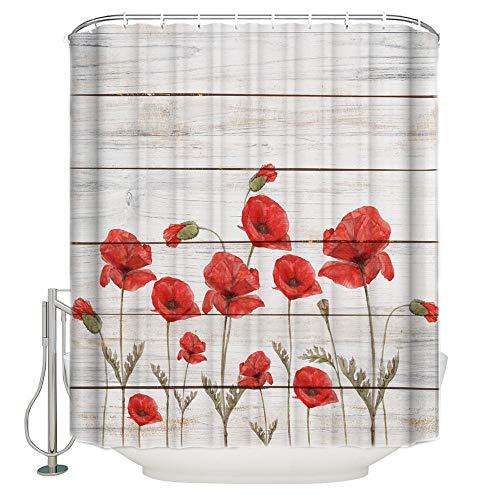 cortinas de baño rojas