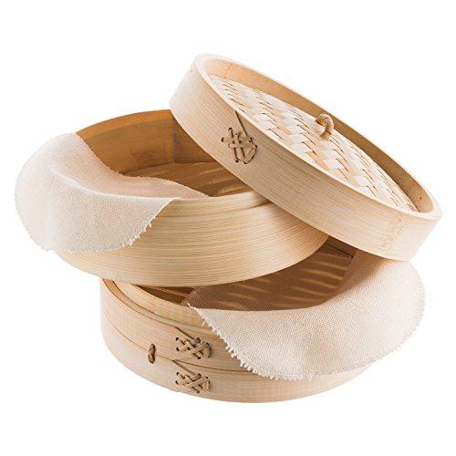 Reishunger traditioneller Bambusdämpfer und Dampfgarer für 4 Personen (Ø 25 cm, 2 Etagen) für Reis, Dim Sum, Gemüse, Fisch und Fleisch - Dumpling Maker inkl. 2 Baumwolltüchern