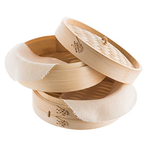 Reishunger Vaporera de bambú (Ø 25 cm, 2 pisos) para arroz, dim sum, verduras, pescado y carne, incluye 2 toallas de algodón, para 4 personas