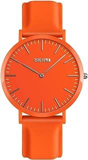 TONSHEN Simple Design Fashion Casual Analog Quartz Watch for Men and Women Multiple Colours Plastic Case with Rubber Band Dress Watches (Women Orange)