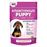 Dog Vitamin and Supplement: Glucosamine, Probiotics for Gut Health & Immune Support, Omega 3 Fish Oil, Chondroitin, MSM for Hip & Joint Support, Organic Turmeric, Chewable, by SmartyPaws (60 count)
