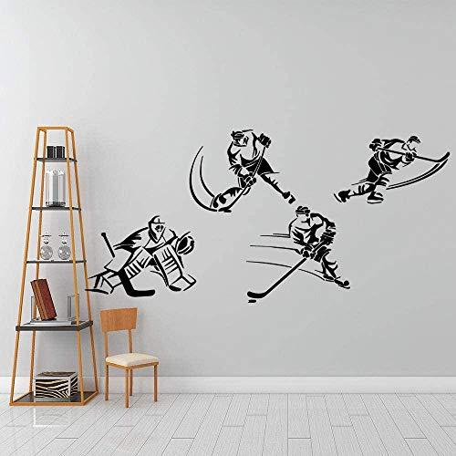YAZCC Kinderzimmer DIY Wandtattoo Tapete kreative Wandaufkleber Eishockey Vinyl Aufkleber 120x57cm
