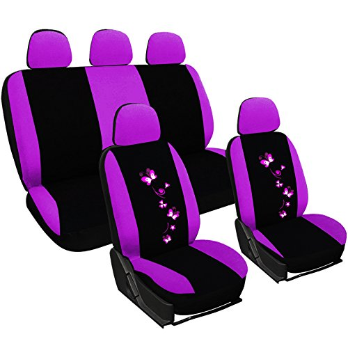 WOLTU AS7253 Universal Schonbezüge für Auto Sitzbezüge Sitzschoner Sitzbezug Auflage Schutz, Butterfly Stickerei, schwarz-violett