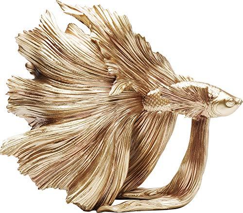 Kare Design Deko Figur Betta Fish Gold, Crowntail fisch, extravagante Dekofigur, goldene Dekofigur, (H/B/T) 36,5x33,5x14cm