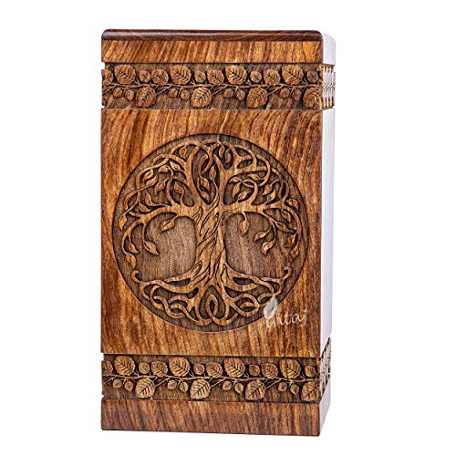 INTAJ Handmade Rosewood Urn for Human Ashes - Adult Tree of Life Wooden Urns Hand-Crafted - Celtic Funeral Cremation Urn for Dogs Engraved (Rosewood, Large - 11.25Hx6.25W (250 Cu/in))