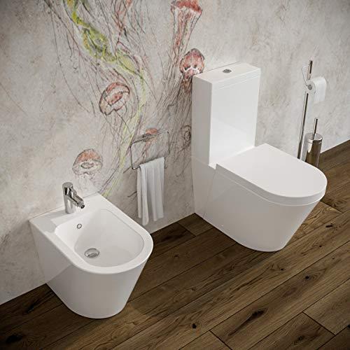 Sanitari bagno filomuro a terra Bidet e Vaso WC monoblocco in ceramica con sedile coprivaso softclose cassetta di scarico. Arco