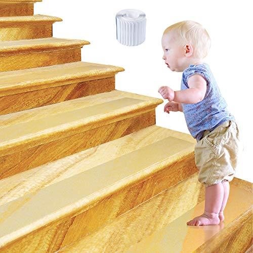 15 x Tira Adhesiva Antideslizante para Escaleras Transparente, 10 X 60CM Tiras Antideslizantes Autoadhesivas - Seguridad en el Hogar y al Aire Libre para Bebés, Niños, Adultos Mayores, Mascotas
