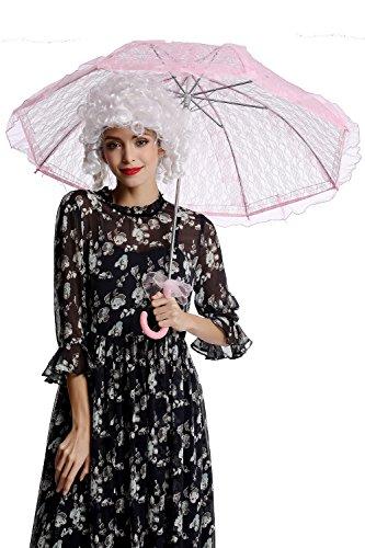 DRESS ME UP - YS-001P Parasol Spitze Sonnenschirm Barock Rokoko Viktorianisch Biedermeier Rosa Pink...