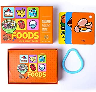 PicoHemmo Foods Words Flash Cards for Kids, 52 Cards Foods Letter Visual 3''x4.5'' with Ring Designed for Ages 3+ Years Kids