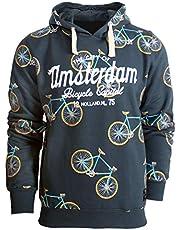 Amsterdam Hoodie Sweatshirt All Over Bikes Blauw Schemering