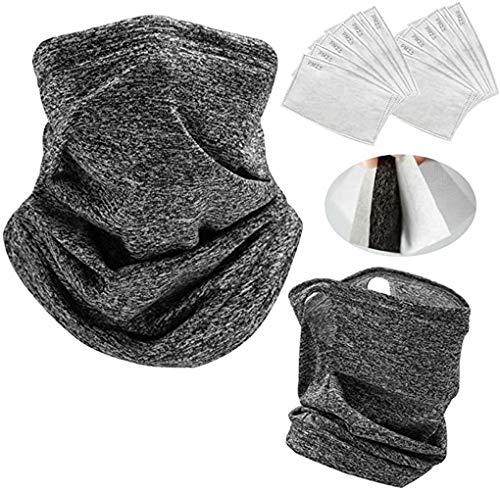 2 PCS Neck Gaiter with 10 PCS Carbon Filters for Men & Women Cooling Scarf Bandanas Balaclavas (Dark Grey-EarLoops)