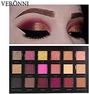 Eyeshadow Palette 18 Colors Matte Shimmer Eyeshadow Makeup Nude Warm Smoky Pro Eye Shadow Cosmetics 11Matte + 7Shimmer(VERONNI)
