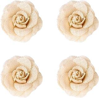 EXCEART 4 Pcs Naturel Jute Fleurs Hesse Floral Jute Autocollants Artisanat pour Cadeaux Paquet Bandeau DIY Décorations pou...