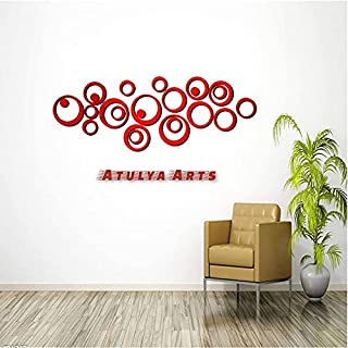 Atulya Arts 24 PCS Rings and dots Red Mirror Wall Stickers 3D Decorative Wall Stickers for Girls Bedroom Home and Office d...