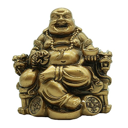 Chinese Handicrafts Resin Laughing Buddha Sitting on Dragon Chair Sculpture Wealth Lucky Statue Home Decoration Gift BS188