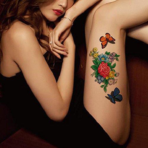 TAFLY Sexy Bunte Blume 3D Temporäre Tätowierung Wasserdichte Körperkunst Transfer Tätowierung Aufkleber für Frauen 5 Blätter