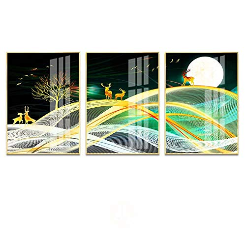 ETH Kleurrijke Moderne Abstract Licht Aluminium Decoratie Woonkamer Feng Shui Auspicious Schilderij Micro-spray Plexiglas Schilderij 3stks/30x40cm/35x50cm Halloween carnaval