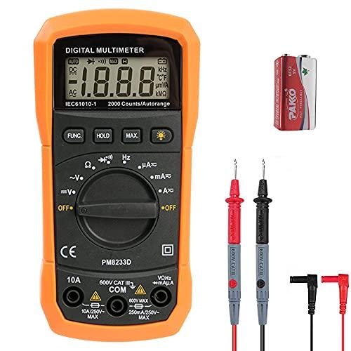 ZICIS Digital Multimeter Tragbare Prüfvorrichtung für Zuhause mit LCD-Anzeige und Hintergrundlicht. AC/DC Voltage Current Detector,Resistance,Capacitance
