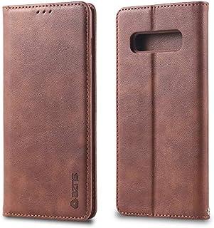 Moonmini Samsung Galaxy S10 財布 レザー シェル ?と 保護 耐久性のある 保護シェル ケース フォリオ フリップ 電話 カバー バッグ ?と カード スロットs,現金 ポケット,Brown