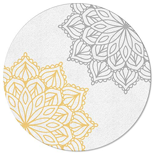 OneHoney Gray Yellow Sketch Blossoms Dahlia Round Area Rugs 5 feet, Indoor Throw Runner Rug Entryway Doormat Floor Carpet Pad Yoga Mat for Bedroom Living Room Abstract Floral