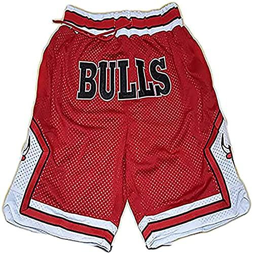 SFTG Pantalones Cortos de Baloncesto para Hombres, Pantalones Cortos de Malla Transpirable Lakers y Bulls, Pantalones Cortos Deportivos Casuales M B