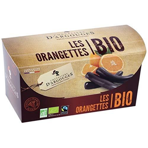 CHEVALIERS D'ARGOUGES Maîtres Chocolatiers Français Orangettes Enrobées en Chocolat Noir 72% Bio/Équitable Ballotin Dégustation 180 g