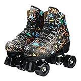 pattini per adulti Pattini a rotelle in pelle sintetica con ruote in PU per donne Principiante giovanile-nero_35