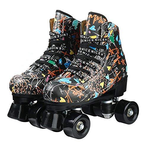 pattini per adulti Pattini a rotelle in pelle sintetica con ruote in PU per donne Principiante giovanile-nero_38