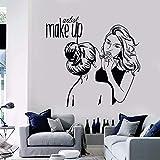 Vinilo tatuajes de pared artista de maquillaje etiqueta de la pared estética salón de belleza decoración pintura de la pared extraíble tienda de maquillaje cartel de la pared57x28cm