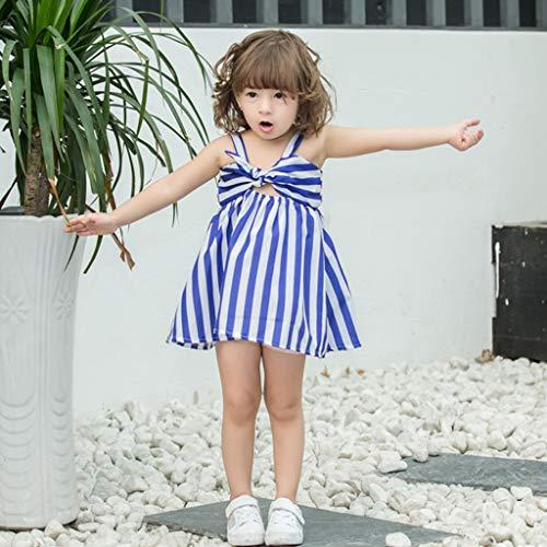 Janly Clearance Sale Vestido para niñas de 0 a 10 años de edad, para bebés y niñas a rayas, con cinturón de condolio y falda de princesa, es ropa casual, azul, 3-4 años