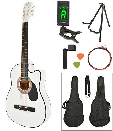 Akustik Western Gitarre Westerngitarre in Weiß mit Gitarrentasche, LCD Stimmgerät, Gitarrenständer und Zubehör