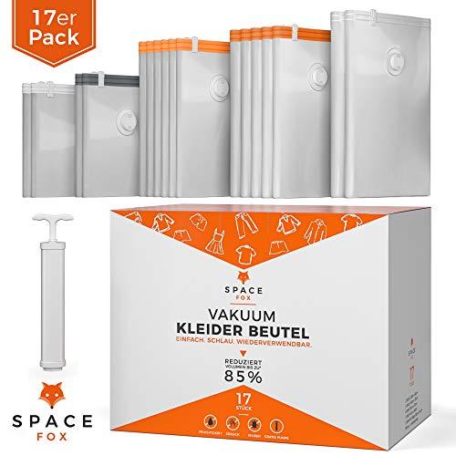 SpaceFox Vakuumbeutel für Kleidung mit Pumpe | EINFÜHRUNGSANGEBOT 2020 | 17 TLG | 2 Jumbo 120x90cm, 5 Groß 100x70, 6 Mittel 70x50, 2 Klein 60x40, 2 Beutel zum Rollen 38x54 | Kompressionsbeutel Set