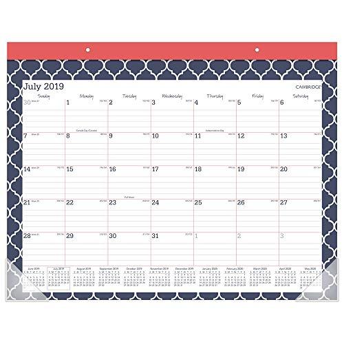 "2019-2020 Academic Desk Calendar, Cambridge Monthly Desk Pad Calendar, 21-3/4"" x 17"", Standard, Emma Moroccan (D1116M-704)"