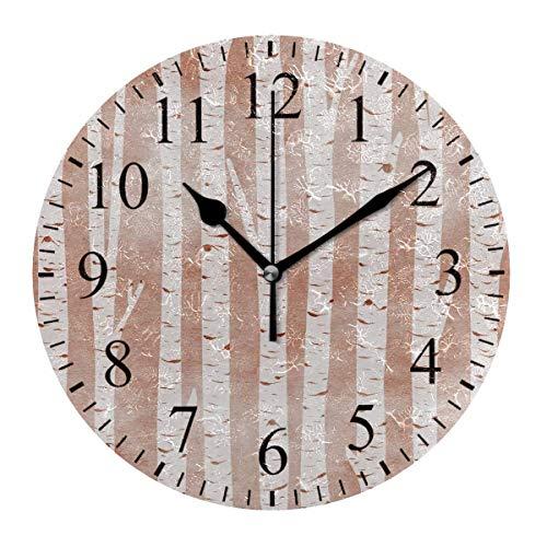 Night Ing Reloj de Escritorio de Reloj de Pared Redondo Vintage Blanco de Abedul Decorativo para la Escuela de la Oficina en casa