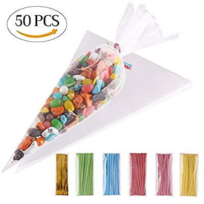 ccinee 50 pieces large size clear cone plastic cone bags - 7.2inchx14.6 inch cone sweet bags with assorted twist ties CCINEE 50 pieces Large Size Clear Cone Plastic Cone Bags – 7.2inchx14.6 Inch Cone Sweet Bags with Assorted Twist Ties 51Q2Roj9GmL