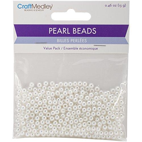 Multicraft Imports Collerettes Perles (Lot de 480), 4 mm, Blanc