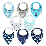 Baby Bibs 8 Pack Soft and Absorbent for Boys & Girls - Baby Bandana...