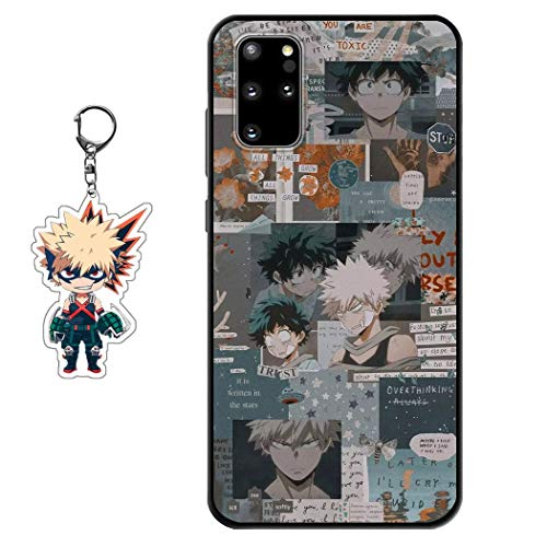 Compatible with Samsung Galaxy A11 Case My Hero Academia Anime Design [with Bakugou Katsuki Figure Keychain], Soft Silicone TPU Animation Cool Phone Case for Samsung Galaxy A11