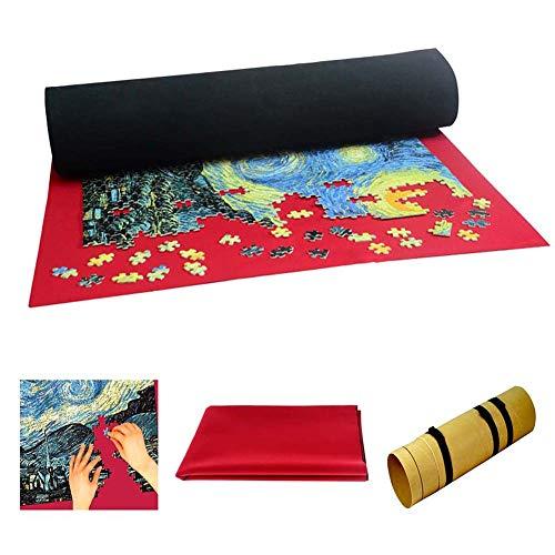 FXQIN Play Mat Puzzle Roll, Jigsaw Puzzle Tapete Puzzle Storage Mat Rompecabezas Saver Roll Felt Mat Playmat para 1000 Piezas, Rompecabezas portátil Rollo Felt Mat, Rojo