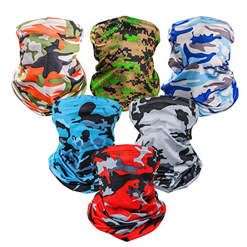 6 Pieces Sun UV Protection Face Mask Neck Gaiter Windproof Scarf Sunscreen Breathable Bandana...