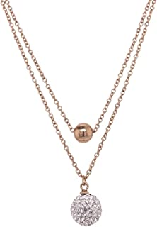Bevilles Rose Stainless Steel Crystal Ball Double Necklace