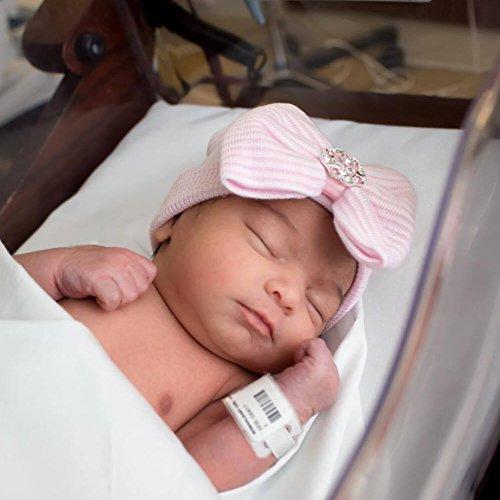 DRESHOW 3 Pcs Newborn Hospital Hat Infant Baby Hat Cap Big Bow Soft Cute Knot Nursery Beanie (Blue, Pink, White)