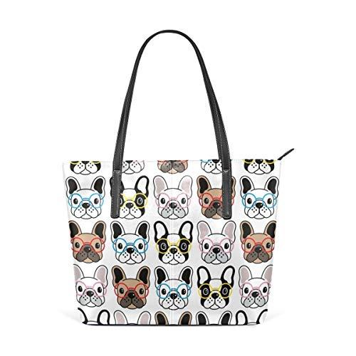 TIKISMILE Hundetransporttasche mit nahtlosem Muster, französische Bulldogge, aus PU-Leder, für Damen und Mädchen